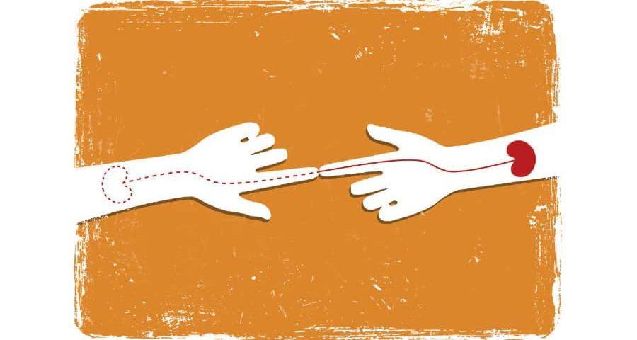 δυο χέρια με ένα νεφρο
