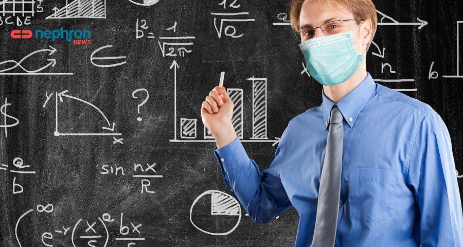 καθηγητής σε σχολείο με μάσκα