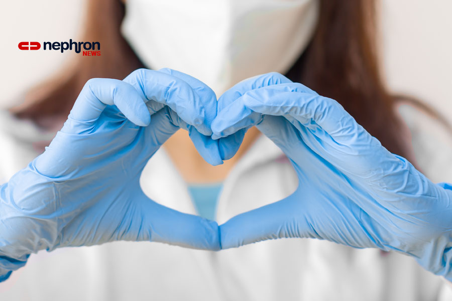 μπλε γάντια σε σχημα καρδιας