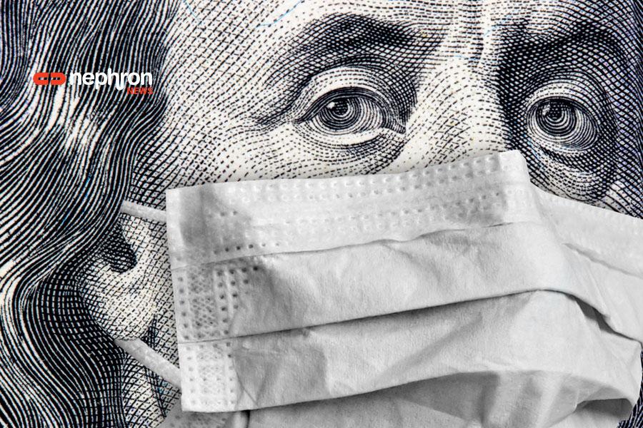 πρόσωπο από δολλάριο φοράει μάσκα