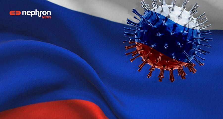 Ρώσσικη σημαία με covid 19