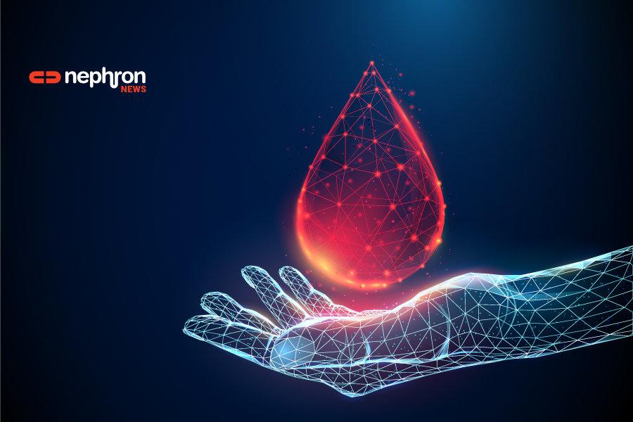 ψηφιακό χέρι με μία σταγόνα άιμα