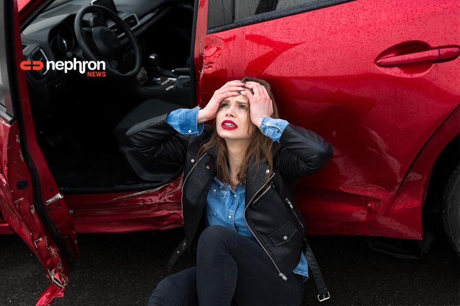 γυναίκα σε ατύχημα με αυτοκίνητο