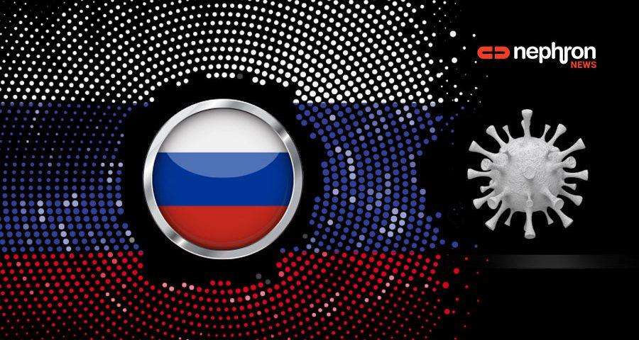 ρωσική σημαία με κορονοιό