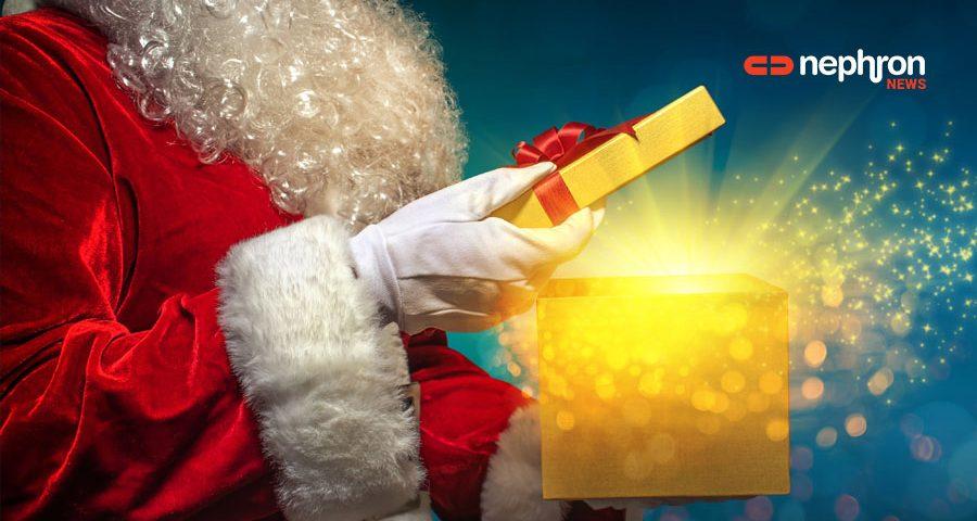 Ο Αγιος Βασίλης κρατάει δώρα