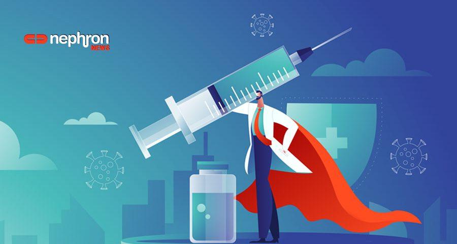 γιατρός καρτούν κρατάει σύριγγα εμβολιασμού